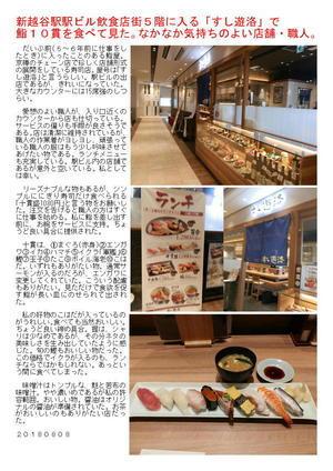 新越谷駅駅ビル飲食店街5階に入る「すし遊洛」で鮨10貫を食べて見た。なかなか気持ちのよい店舗・職人。