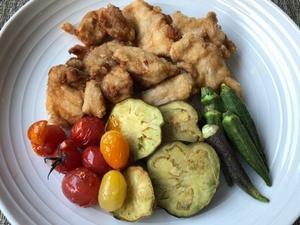 鶏と野菜の揚げ物&完熟ゴーヤーと胡瓜の酢の物 - やせっぽちソプラノのキッチン2