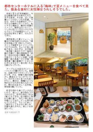 都市センターホテルに入る「梅林」で夏メニューを食べて見た。数ある食材に女性陣はうれしそうでした。