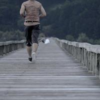ジョギング - 長い木の橋