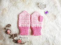 ピンクのハートミトン - ミトン☆愛犬 編みぐるみ Maronyのアトリエ