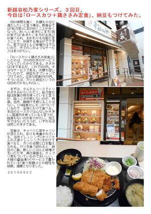 新越谷松乃家シリーズ。3回目、今日は「ロースカツ+鶏ささみ定食」、納豆もつけてみた。