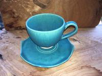 青のコーヒーカップ&ソーサー - 陶芸ブログ 限 無 窯    氷裂貫入青瓷の世界