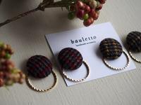 グレンチェックボタンピアス - bauletto