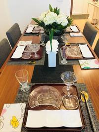 今月の料理教室のテーブルコーディネートと業務連絡 - MotoのNY料理教室ライフ