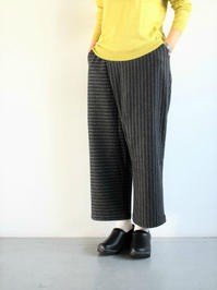 GRANDMA MAMA DAUGHTERSTRIPE WRAP PANTS / Charcoal - 『Bumpkins putting on airs』