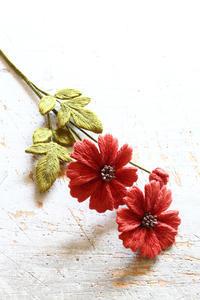 オフフープ🄬立体刺繍のコスモス~「フェルト刺しゅうの花図鑑」掲載作品~ - フェルタート(R)・オフフープ(R)立体刺繍作家PieniSieniのブログ