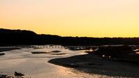 大井川夕景 - 長い木の橋