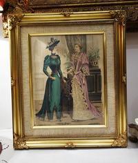 ファッション画入り木製金彩額815 - スペイン・バルセロナ・アンティーク gyu's shop