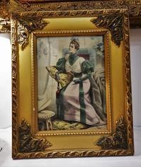 ファッション画入り木製金彩額817 - スペイン・バルセロナ・アンティーク gyu's shop