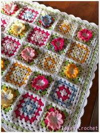 カラフル*フラワーモチーフのブランケット完成しました☆ - Flower*Crochet