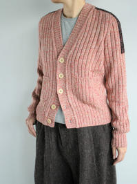 unfilmelange merino ribbed cardigan / red mix - 『Bumpkins putting on airs』