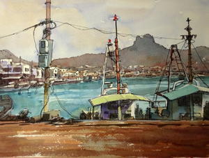 庵治港 1 - tedkimotoの水彩画