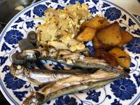 10月11日、シシャモ、芋の煮っころがし、玉ねぎの卵とじ - 今夜のおかず