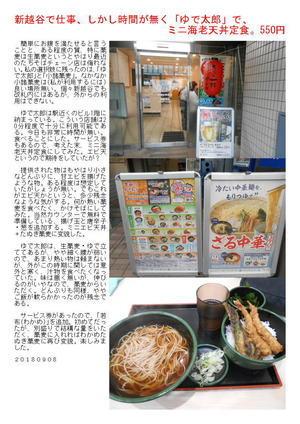 新越谷で仕事、しかし時間が無く「ゆで太郎」で、ミニ海老天丼定食。550円