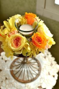 プリザでキャンドルアレンジ。 - 花色~あなたの好きなお花屋さんになりたい~