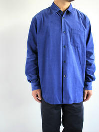 Sans limiteBOX REGULAR COLLAR SHIRT - CORDUROY / blue - 『Bumpkins putting on airs』
