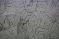 30号・椿と鳥 - 絵と庭