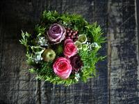 ご結婚記念日に奥様へのタルト型アレンジメント。「ピンク系で」。2018/10/08。 - 札幌 花屋 meLL flowers