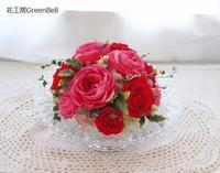 ガラス花器のレッドアレンジ☆ - お花とマインドフルネスな時間 ~花工房GreenBell~