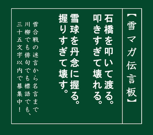なんでも、雪合戦に置き換えてみる~12 - ユキガッセン見聞縁~365days,yukigassen.
