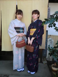 レトロなウールのお着物、対照的に。 - 京都嵐山 着物レンタル&着付け「遊月」