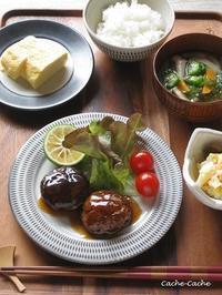一汁三菜。椎茸の肉詰め 甘酢あん、だし巻きたまご、ポテトサラダ - Cache-Cache+