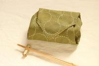 グリーンの染め晒しで大きなサイズのまん丸刺し子 - キラキラのある日々