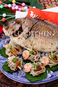 目出たがるSOBAの中で あ!鯛と めぐり逢えた ひと口飾りもちむぎ蕎麦 - 家族みんなのニコニコごはん