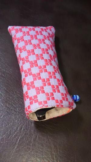 手編みバッグと南部菱刺し『グルグルと菱』