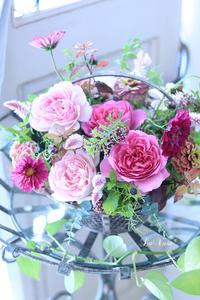 Living flowerクラスのBasket arrangement - Le vase*  diary 横浜元町の花教室