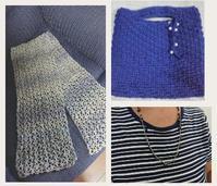 お客様の完成品いろいろ♪ - 空色テーブル  編み物レッスン