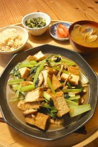 厚揚げと小松菜の焼き浸し - 週末は晴れても、雨でも