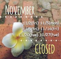 11月の定休日と営業時間変更日のお知らせ - てのひら日記
