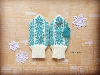 ミント色の雪の結晶ミント - ミトン☆愛犬 編みぐるみ Maronyのアトリエ