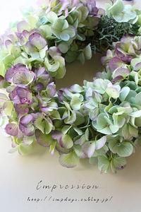 秋色紫陽花のリース - Impression Days