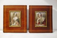 肖像画入り木製小額824,825 - スペイン・バルセロナ・アンティーク gyu's shop