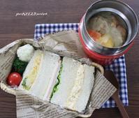 サンドイッチ&肉団子シチュー弁当 - 男子高校生のお弁当