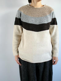 NOMA t.d.Stripe Sweater / Beige × Ivory - 『Bumpkins putting on airs』