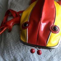 赤と黄色に茶色い目爬虫類新作 - 布と木と革FHMO-DESIGNS(エフエッチエムオーデザインズ)Favorite Hand Made Original Designs