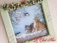 11月レッスン予定 - 猫が見学に…。東京大田区駅前のデコパージュ、ソスペーゾトラスパレンテ(3D)中心のクラフト教室Le Chat Noir(ル シャノワール)