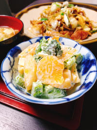柿とブロッコリーとチーズのサラダ。 - 伊瀬愛のSTYLE blog