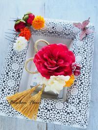 七五三乙女椿の髪飾り - Bonbon Fleur ~ Jours heureux  コサージュ&和装髪飾りボンボン・フルール