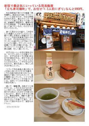 新宿で最近気にいっている簡易鮨屋「立ち寿司横町」で、お任せ「1.5人前にぎり」なんと990円。