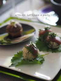 漬け鮪の小鞠寿司~「8月のテーブルコーディネート&おもてなし料理レッスン」より - ATELIER Let's have a party ! (アトリエレッツハブアパーティー)         テーブルコーディネート&おもてなし料理教室