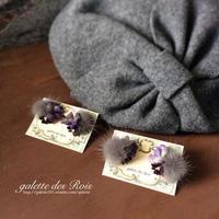 布のお花屋さんファーボンボンのお花耳飾り - galette des Rois ~ガレット・デ・ロワ~