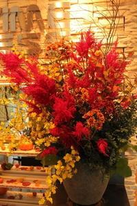 エニタイムフィットネスセンター赤羽北店様定期活け込みの花秋の紅葉 - 北赤羽花屋ソレイユの日々の花