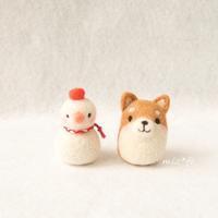 仲良し柴犬と雪だるま - miz-fc