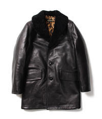 MOUTON COLLAR LEATHER GANG COAT - ISSEI's BLOG