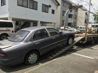 青葉区からレッカー車で車検切れパンク車を廃車の出張引き取りしました。 - 廃車戦隊引き取りレンジャー